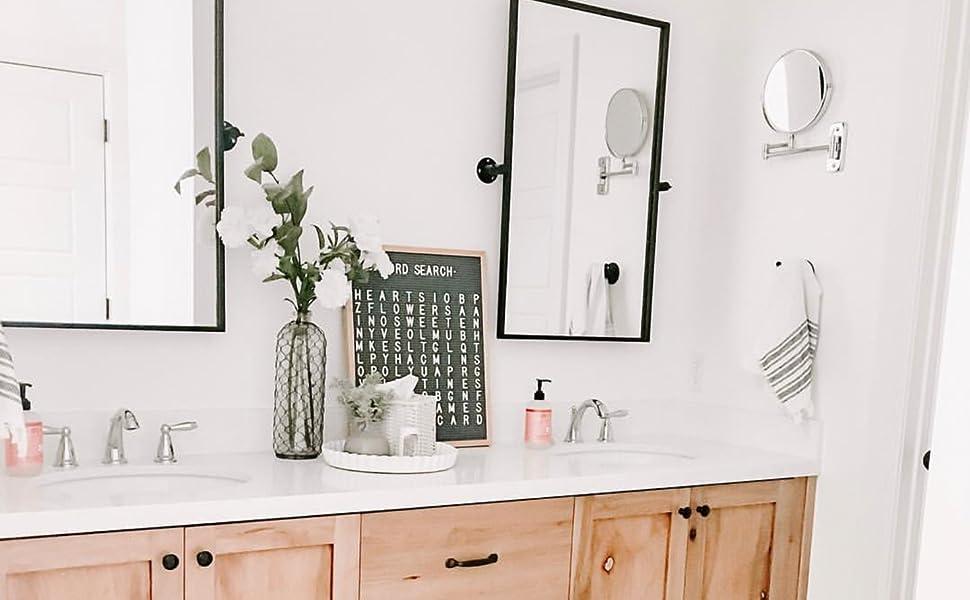 Amazon Com Tehome 28 5 X 36 Black Metal Framed Pivot Rectangle Bathroom Mirror Tilting Beveled Vanity Mirrors For Wall Home Kitchen