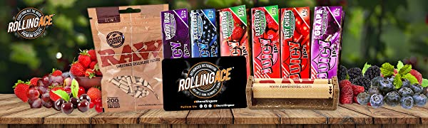 Juicy Jay's Rolling Papers Berries Flavours Slim Cellulose Filters Joint Roller Rolling Ace Scoop
