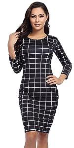 GloryStar Women's 3/4 Sleeve Basic Round Neck Elegant Sheath Pencil Bodycon Dress