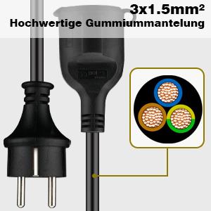 Verl/ängerungskabel 5m Schuko Verl/ängerung Gummi Kabel f/ür den Au/ßenbereich IP44 H07RN-F 3G 1,5mm 16A 250V Rot