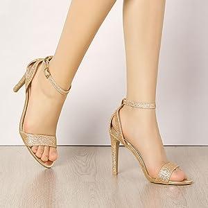 Allegra K Women's Glitter Ankle Strap Stiletto High Heel Sandals