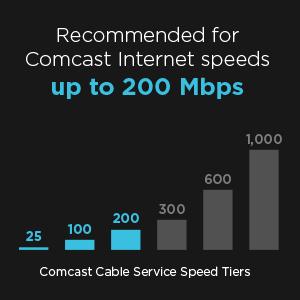 200 Mbps'ye kadar Comcast İnternet hızları için önerilir.