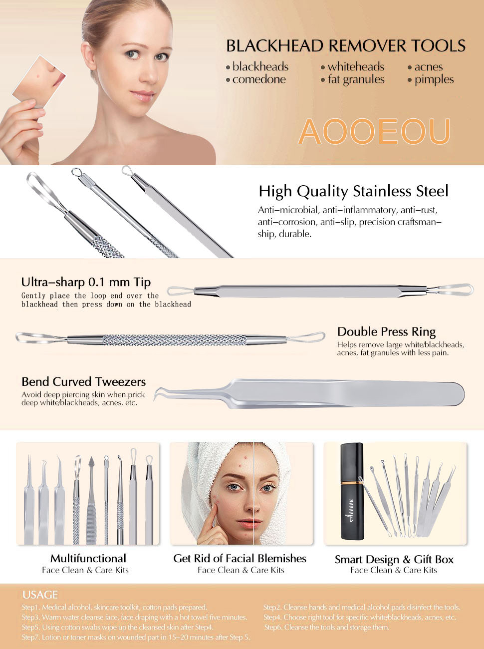 blackhead remover kit for Pimples,Blackheads,Zit Removing blackhead extractor pimple popper tool kit