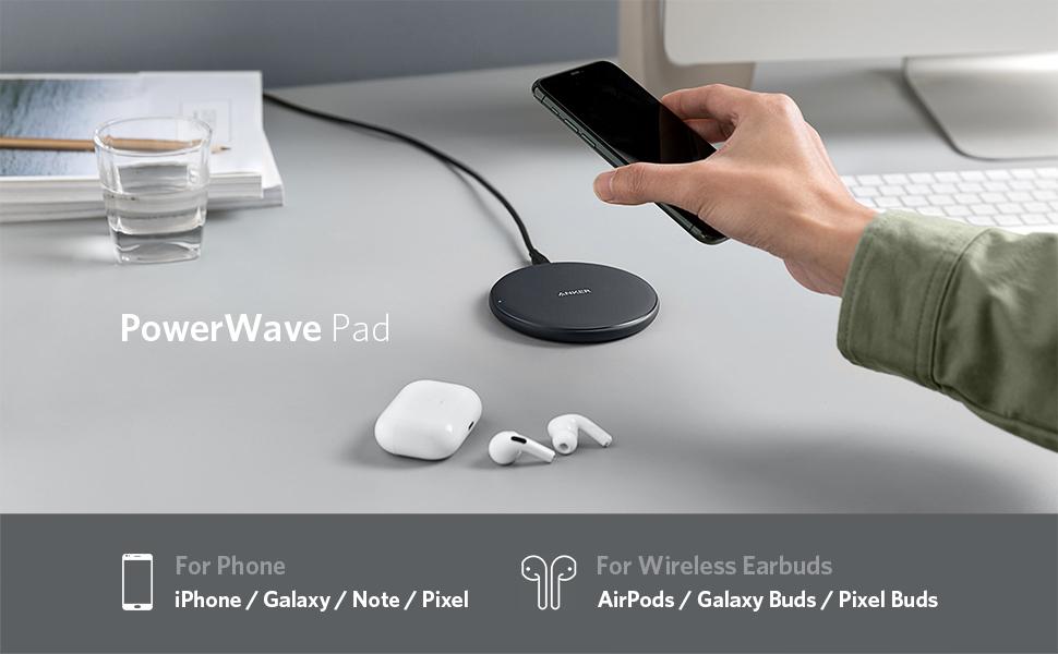 Anker PowerWave 10 Pad (改善版), ワイヤレス充電器 Qi 認証 iPhone 11 / 11 Pro / 11 Pro Max/XS/XS Max/XR/X / 8 / 8 Plus Galaxy LG 対応 5W & 7.5W & 10W 出力 ブラック