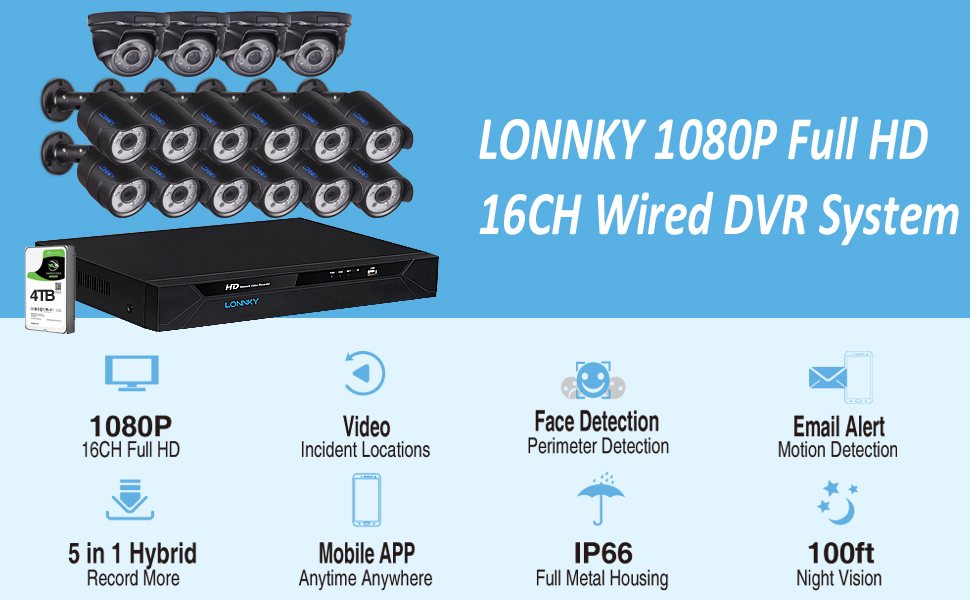 1080P 16CH DVR with 12PCS Bullet Cameras & 4PCS Dome Cameras and 4TB HDD