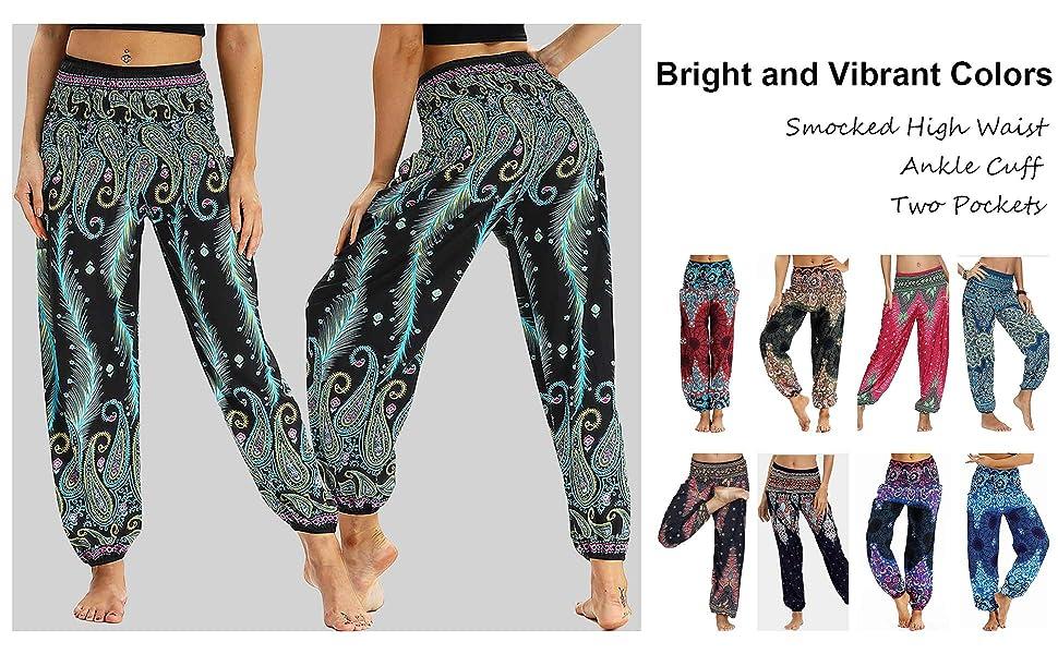 Nuofengkudu Mujer Pantalones Harem Tailandes Hippies Vintage Boho Flores Verano Alta Cintura Elastica Casual Danza Yoga Pants Bombachos Azul Claro Pavo A Amazon Es Ropa Y Accesorios