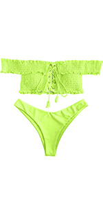 ZAFUL Shirred Lace-up Off The Shoulder Bikini Set