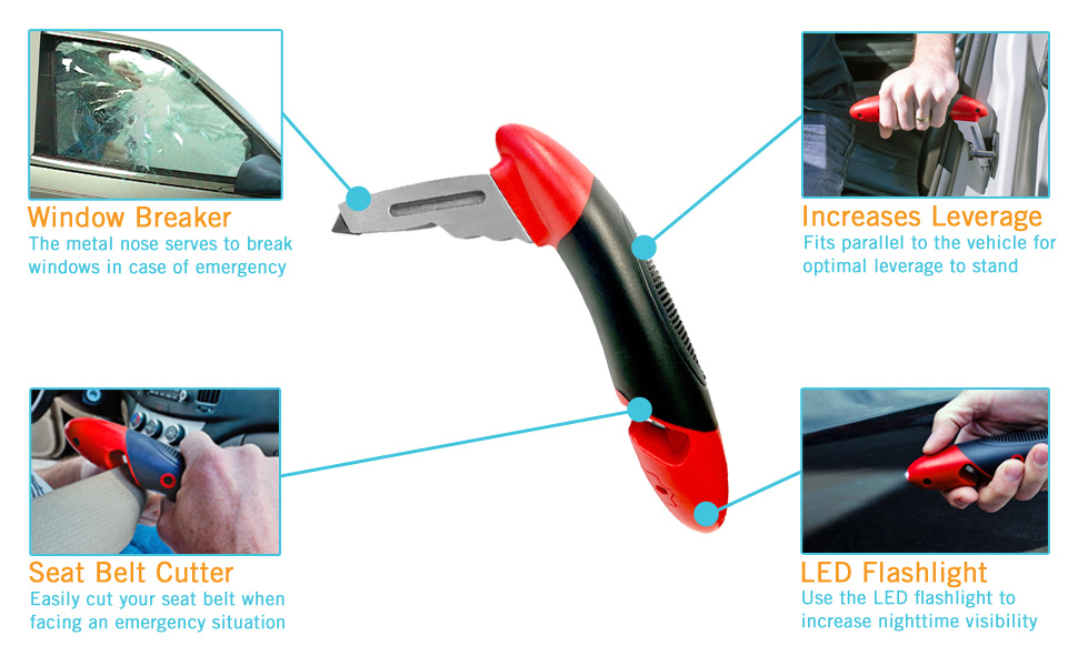 stander handybar auto assist handle emergency vehicle tools window breaker seat belt cutter grip