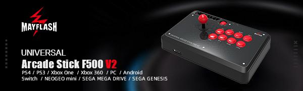 MAYFLASH Arcade Stick F500 PS4/PS3/ Xbox One/Xbox 360/PC/Android/Switch/NEOGEO Mini/SEGA MEGA Drive