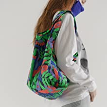 wildflower printed prints colorful bag large organize machine washable recycled fabric square