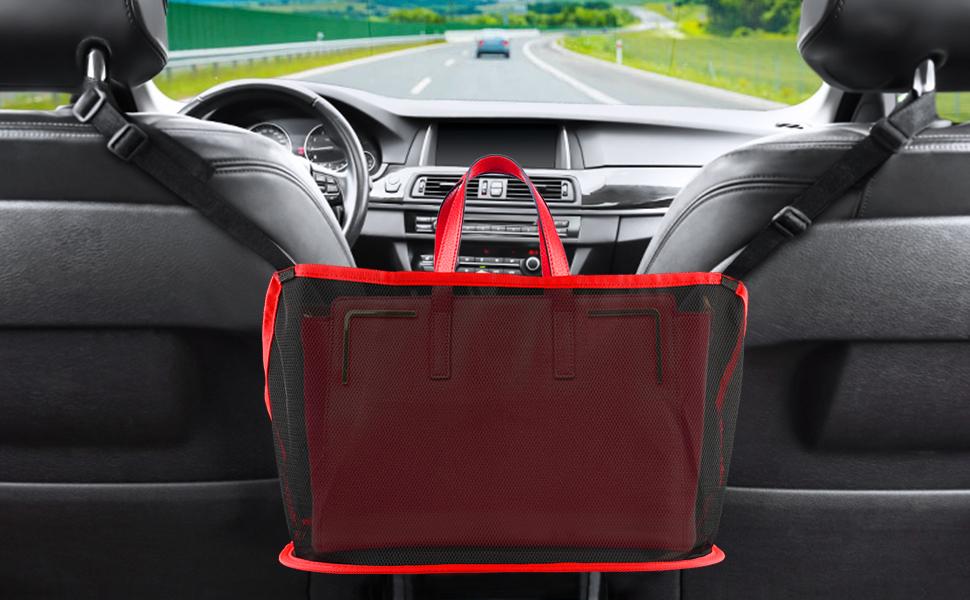 Car Handbag Holder, Leather Seat Back Organizer Mesh Large Capacity Bag, Car Hooks for Purses Bags