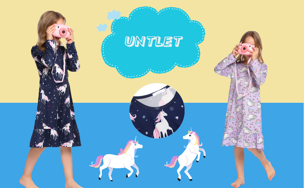 Camisones de Unicornio//Gatito//Estrella Manga Larga Camis/ón Estampado Camis/ón Ropa de Dormir 3-12 a/ños Pijama Rosa//Azul//Blanca