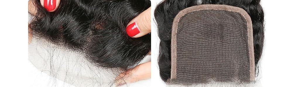 4x4 lace closure deep wave human hair pre plucked hair line with baby hair remy virgin hair