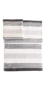 IPPINKA Senshu Japanese Towel, Set of 3 Sizes, Ultra Soft, Quick-Drying, Two-Tone Stripes, Grey
