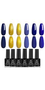 Beetles Blue Gold Glitter Gel Polish Set- 6 Colors Fall Winter Golden Galaxy Collection