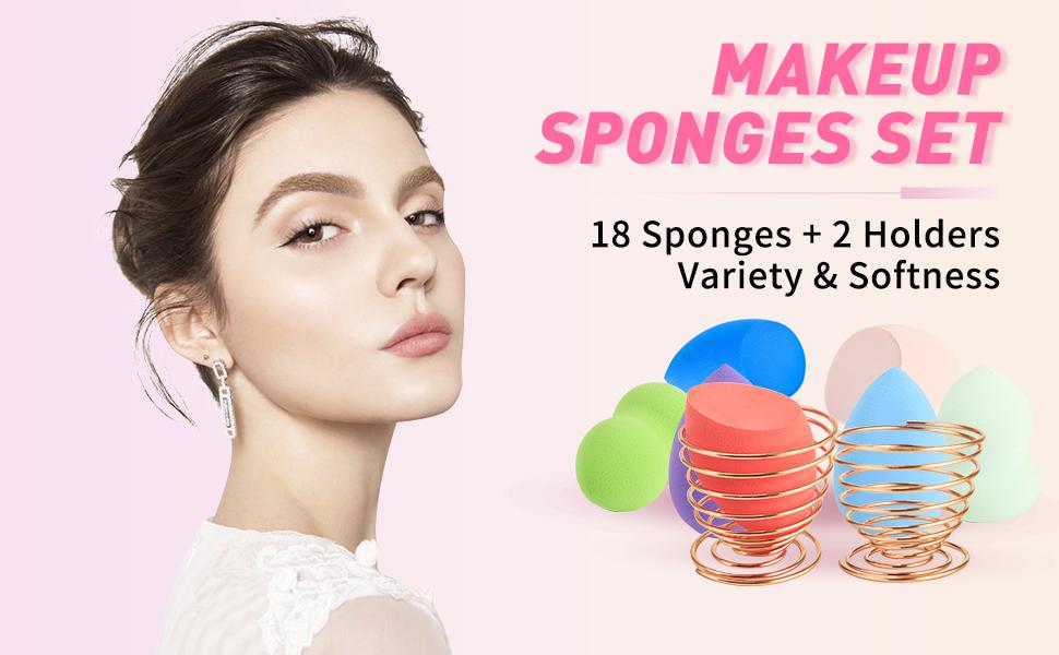 Makeup Sponge 18 Pcs Set-Beauty Sponge Foundation Blending Sponge with 2 Pcs Egg Sponge Blending Holder Stand, Flawless for Liquid & Creams & Powers (Sponge stand color random)
