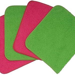 Ti TIN - Pack de 4 Toallas de Guardería Rizo Toalla 90% Algodón - 10% Poliéster, 29x50 cm, Colores Rosa y Verde: Amazon.es: Bebé