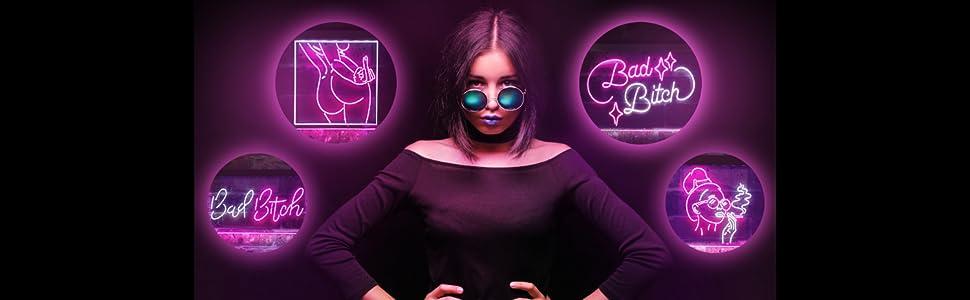 Rebel xxx woman lady fxxk back girl smoke LED neon sign light man adult bad bitch butt home business