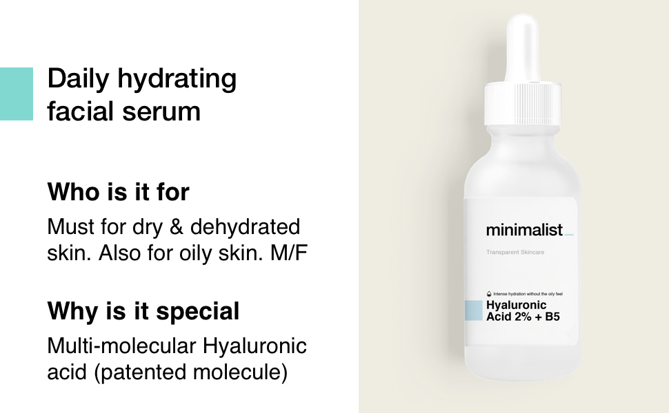 Minimalist Hyaluronic Acid with Vitamin B5 for dry sensitive oily dehydrated skin dry patches