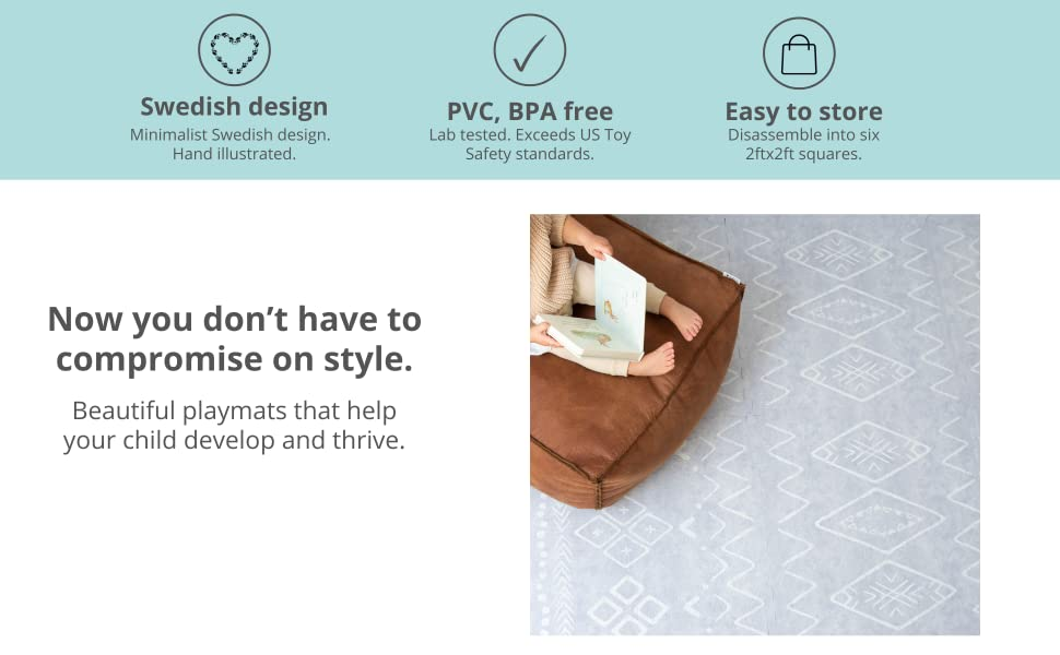 play mat foam tiles puzzle minimalist stylish grey