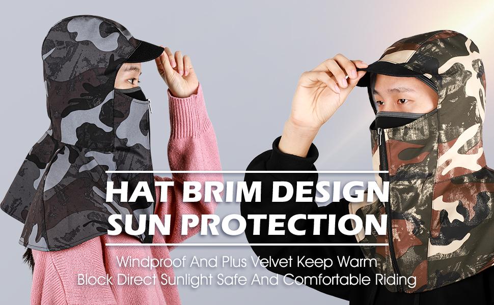 Breathable Face Mask Cover for Men Women Boys Girls, Fleece Hood Snow Gear