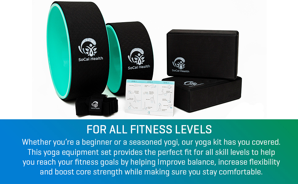 Yoga wheel and foam block set