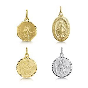 Amberta 925 Sterling Silver Pendant  St Christopher for Men and Women - Coin for Travellers