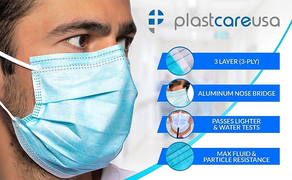 level 1 2 3 ply astm aami face mask flu dust school medical surgical earloop ear loop black blue