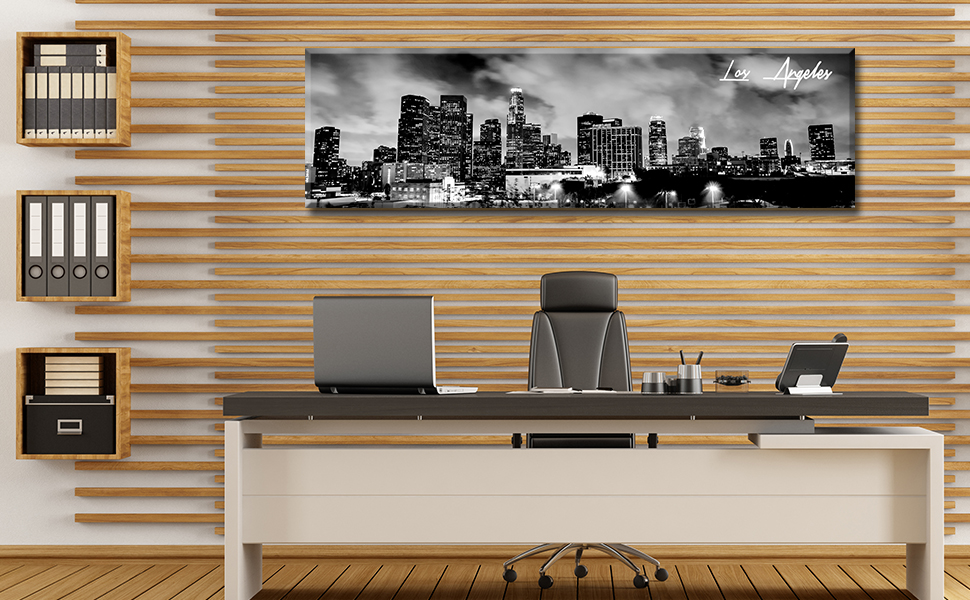 Los Angeles skyline canvas wall art cityscape picture bedroom office painting black white decoration
