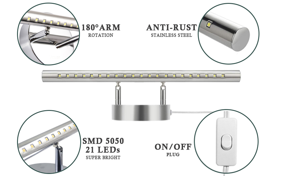 LED Bathroom Vanity Light Fixtures with on//Off Switch Chrome Stainless Steel Make-Up Wall Light Mirror Light Picture Front Lamp 5050smd 5W,Plug in Cord Eleven Master US