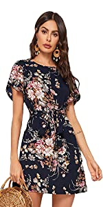 Petal Short Sleeve Floral Print Belted Casual Mini Tunic Dress