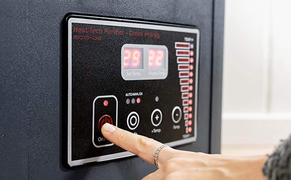 ECO-DE Calefactor purificador eléctrico con Mando y Modo Ahorro en ...