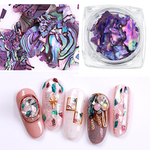 seashell nail art charms gems decorations  pieces sea shell flake glitter nail kit stickers 3d studs