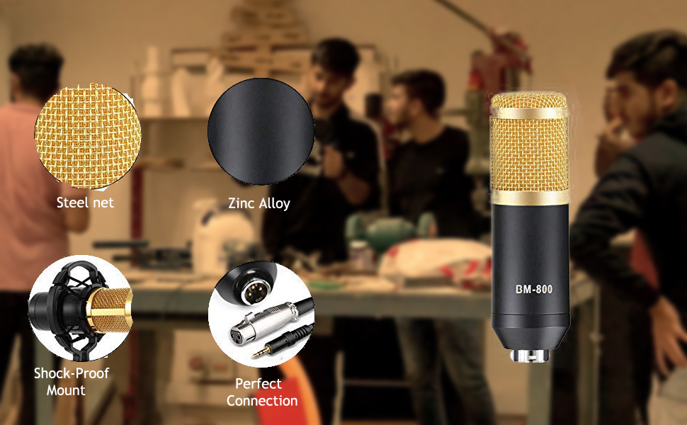 Professional BM800 Microphone with noise cancellation technology