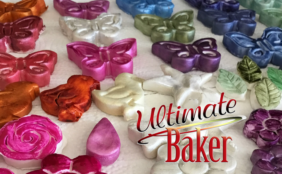 ultimate baker food color, airbrush color, food shines, luster dust, petal dust