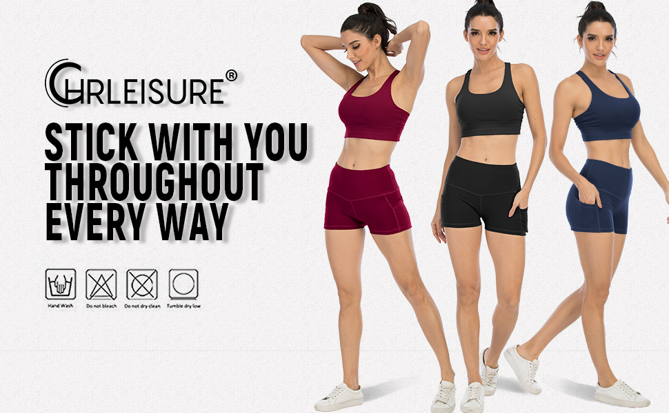 High Waisted Yoga Shorts with Pockets for Women, Workout Spandex Running Shorts 3 Packs