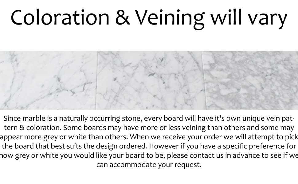 three examples of white marble serving boards showing different veining and coloration