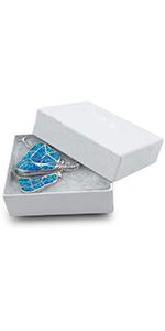 Cotton Filled Cardboard Paper Jewelry Box Gift Case - Swirl White
