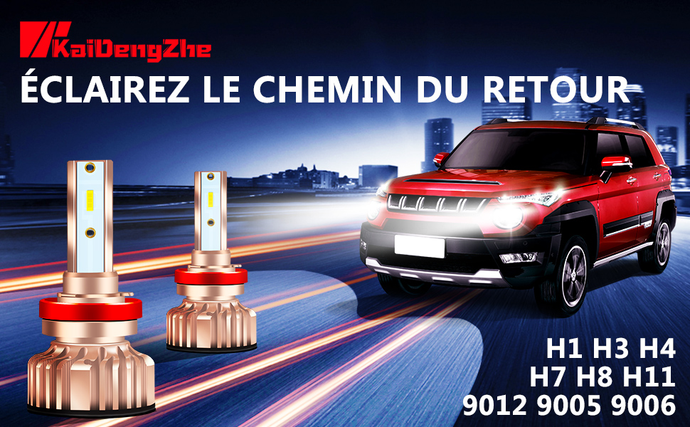 KaiDengZhe 2PCS H1 LED Phares pour Voiture et Moto Xenon Blanc 6500K 85W Ampoules Auto de Rechange pour Lampes Halog/ènes et Kit Xenon Kit de Conversion de Feux de Croisement//Feux de Route 8000LM