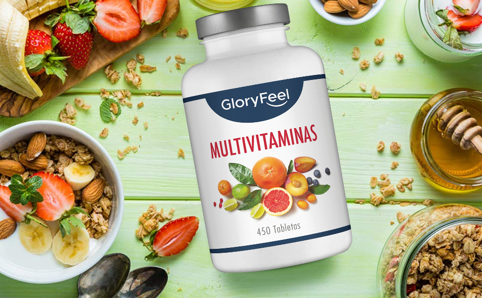 GloryFeel® Multivitaminas y Minerales - 450 Comprimidos Multivitamínicos Veganos - (Suministro por más de 1 año) Vitaminas y Minerales Activos ...