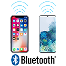 2 Phones with Bluetooth Lines & Logo