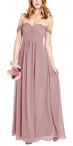 Women Bridesmaid Dresses Long Off Shoulder Prom Gowns Formal Evening Maxi Dress
