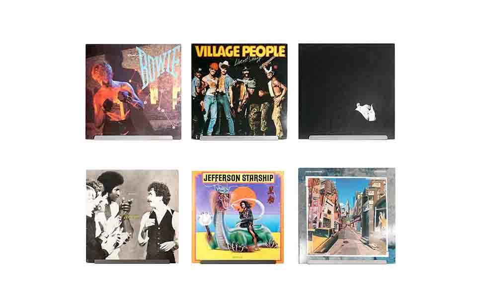 Pantalla de Pared para Discos de Vinilo LP de Alta fidelidad Hudson Paquete de Cuatro Muestre su Escucha Diaria con Estilo Perla Blanca