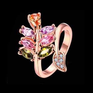 Multicolor swiss zircon Rose gold Rings for women girls party wear Rings