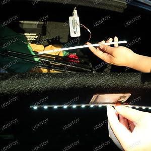 Brilliant Red 18-SMD-5050 LED Strip Light For Car Trunk Cargo Area or Interior Illumination