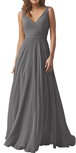 Women's A line V Neck Bridesmaid Dresses Long Chiffon Pleated Wedding Party Gown
