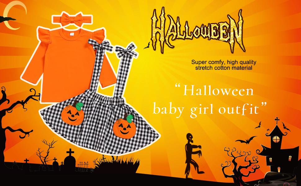 Baby Girls Halloween Set Top +Suspender Skirt Set