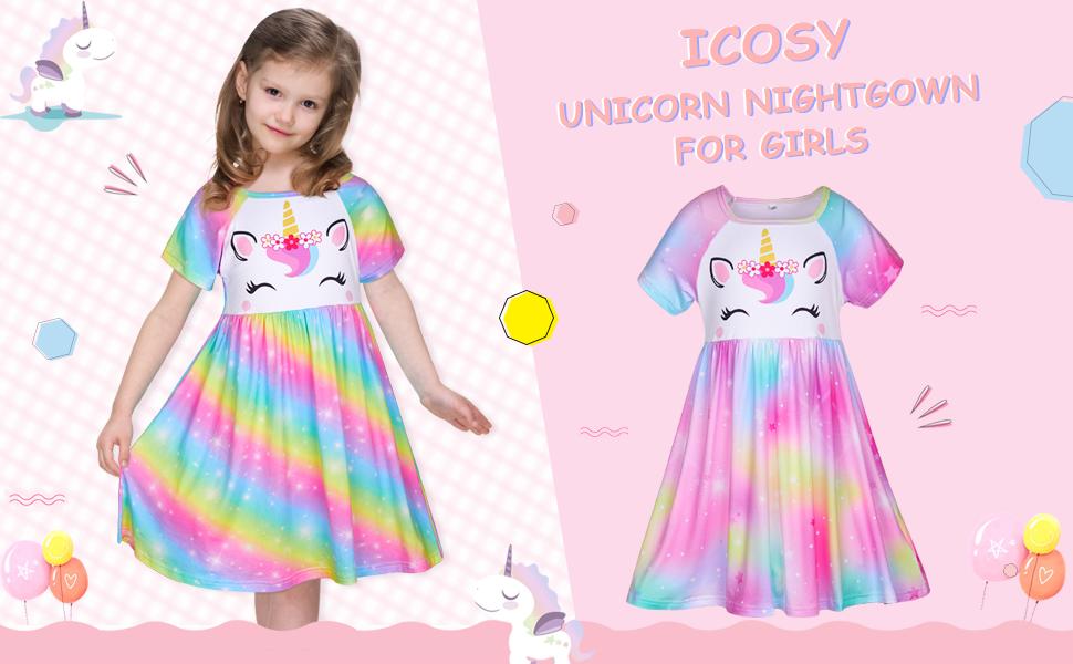 Unicorn Princess Nightgowns Little Girls Nightdress Toddler Sleepwear Short Sleeve Pajamas