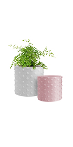 """GrowLED Ceramic Plant Pot 6"""" and 5"""", Hobnail Textured Series, Matte White amp; Pink"""