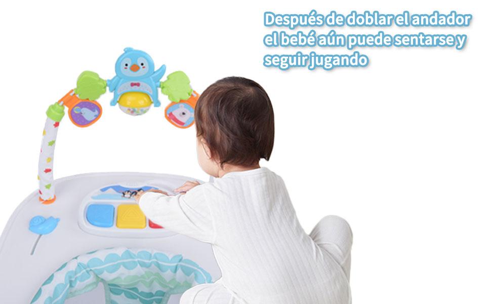 Andador para Bebé Primeros pasos Andador Redondo Multifuncional Baby Go, Andador Plegable de Música para Niños Pequeños de Primer Paso con Bandeja de ...